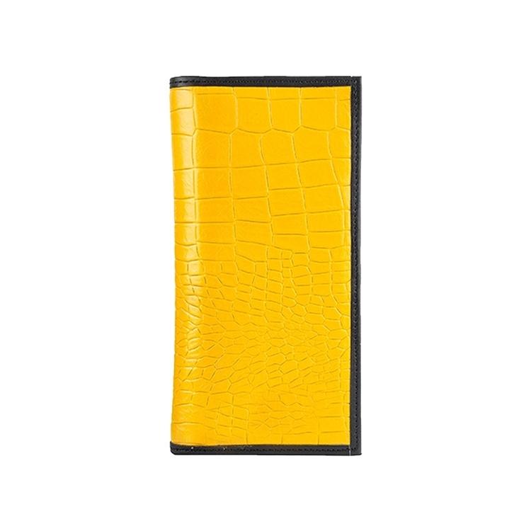 تصویر کیف پول کتی چرم  کد W5 زرد مشکی