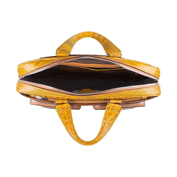 زاویه داخلی کیف چرم دو جیب BC27 خردلی