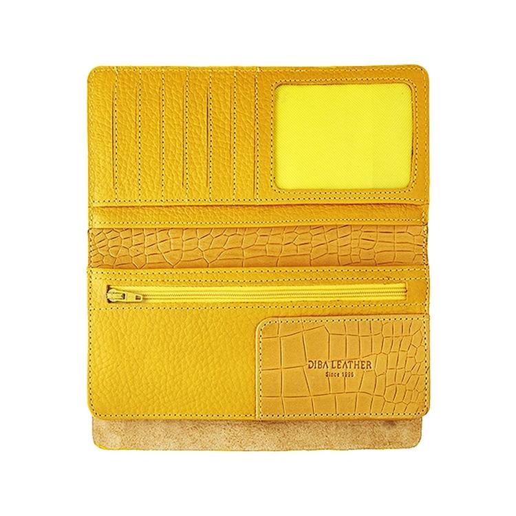 تصویر کیف پول زنانه چرم کدZ13 کروکو زرد