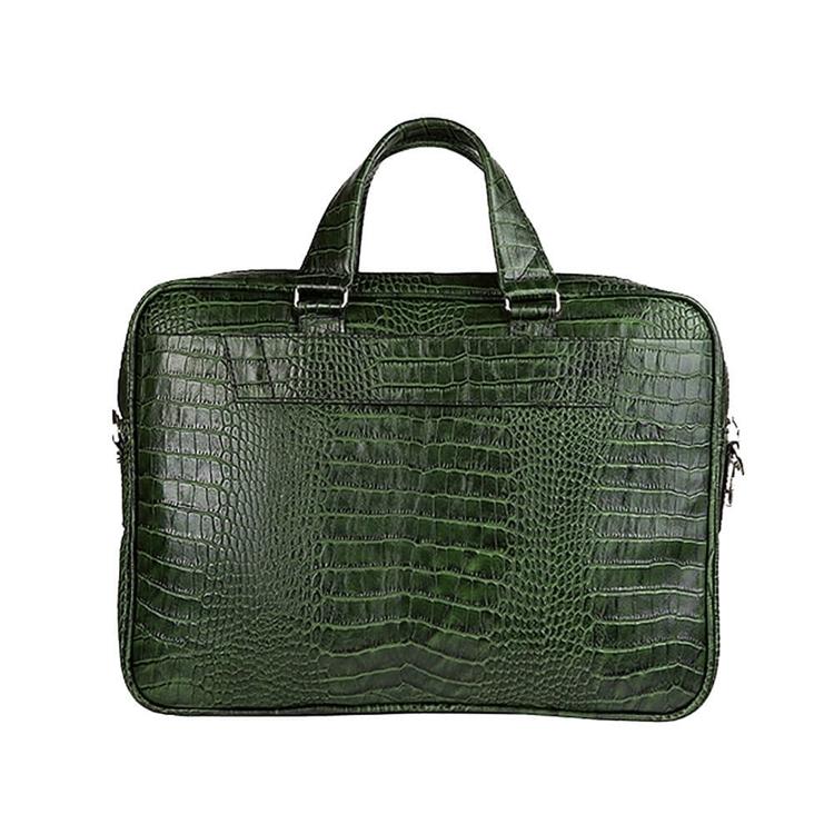 زاویه از پشت کیف چرم دو جیب BC27 سبز